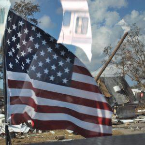 American Flag Reflecting Destruction DSC_3362