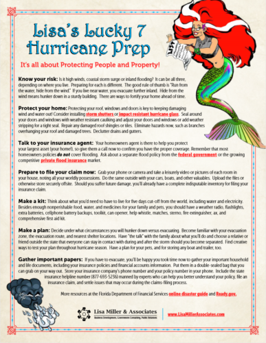 Lisa's Lucky 7 Hurricane Season Prep - consumer education