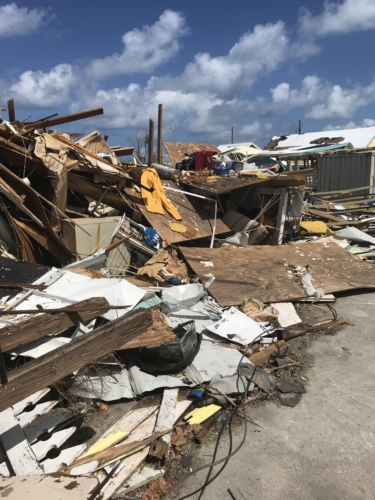 All that's left of one of two hardware stores on Green Turtle Cay – the other was severely damaged