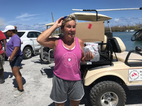 Dr. Pam Mobley with Hurricane Dorian Bahamas medical supplies