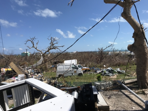 Downed power line on Green Turtle Cay, Bahamas