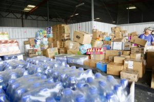 Donated supplies for Hurricane Dorian relief